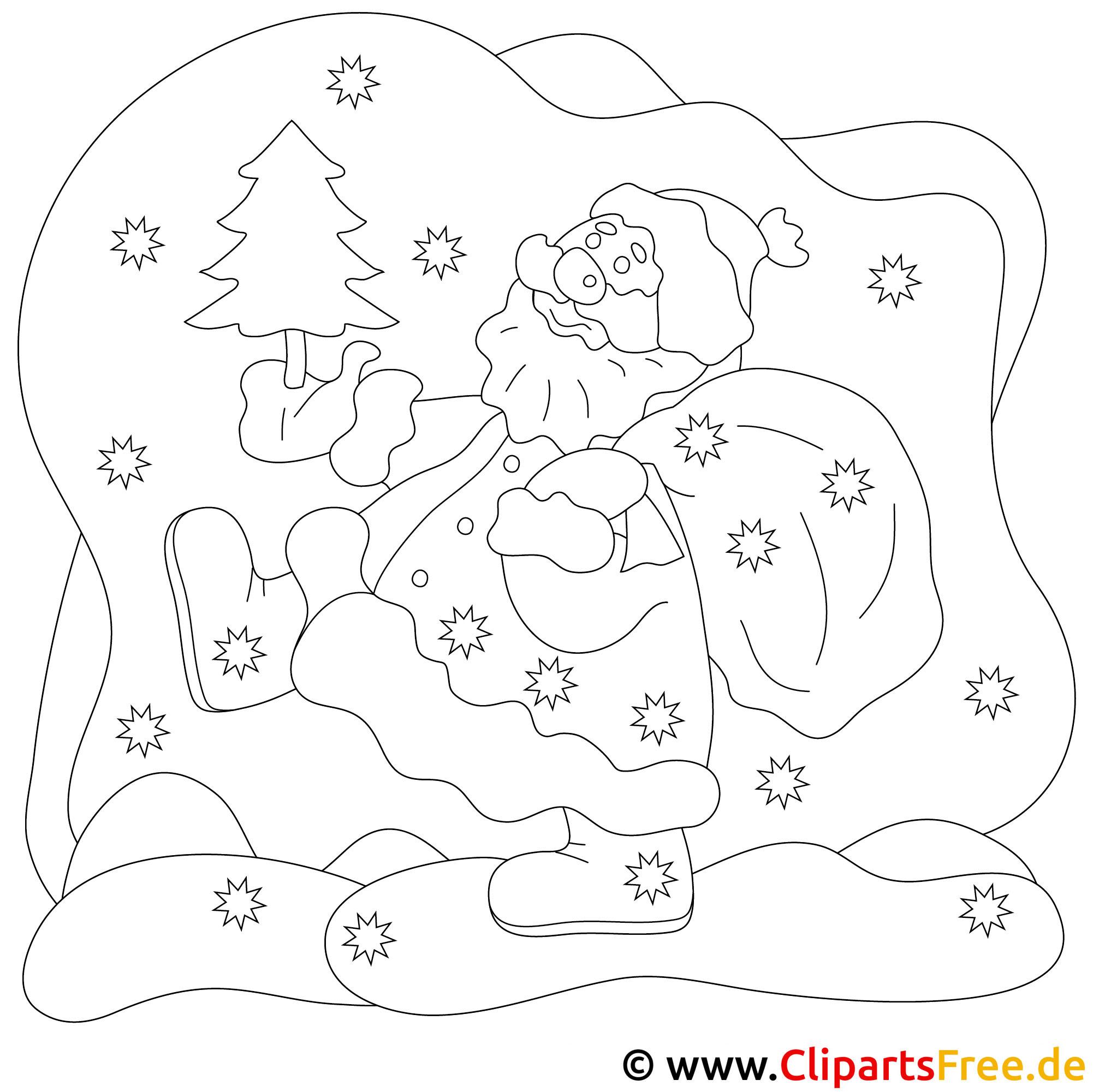weihnachtsmann bild, malvorlage, ausmalbild gratis