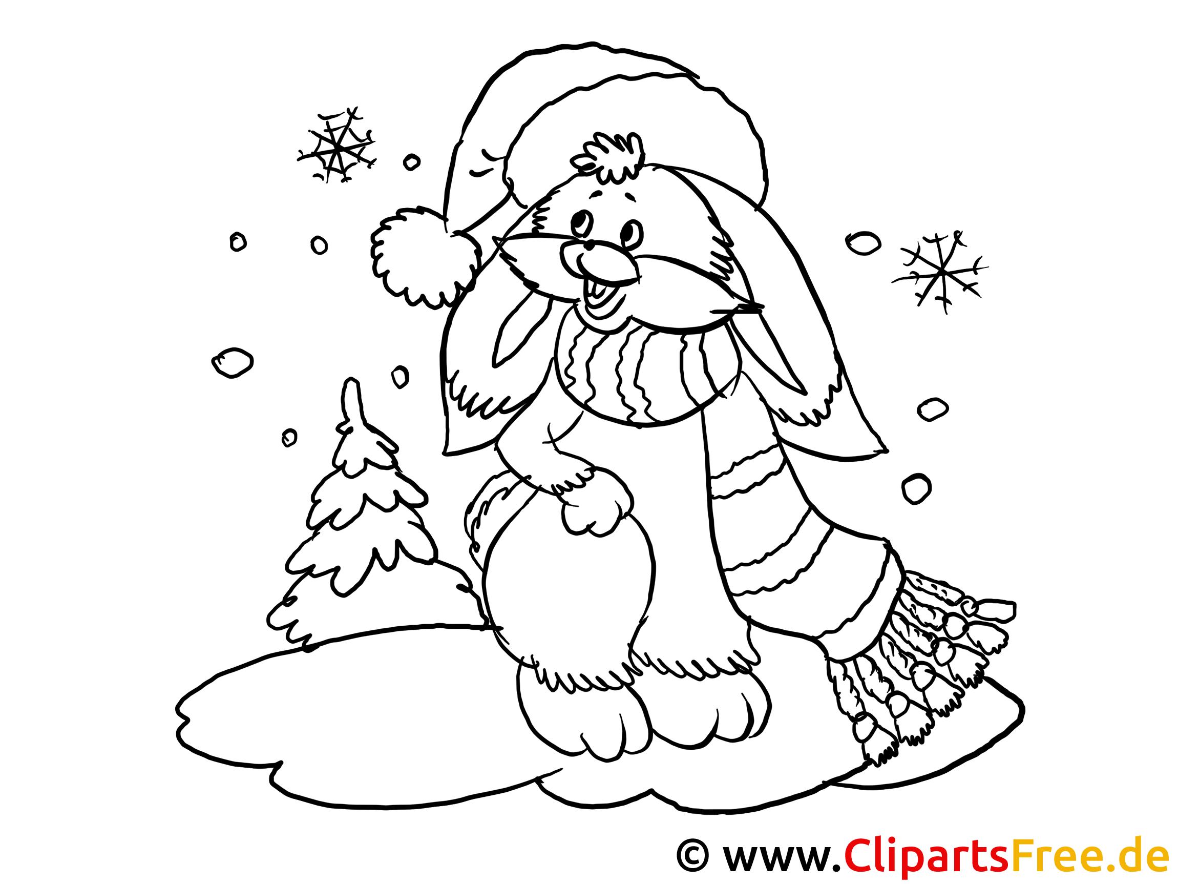 kostenloses pdfausmalbild hase im winter