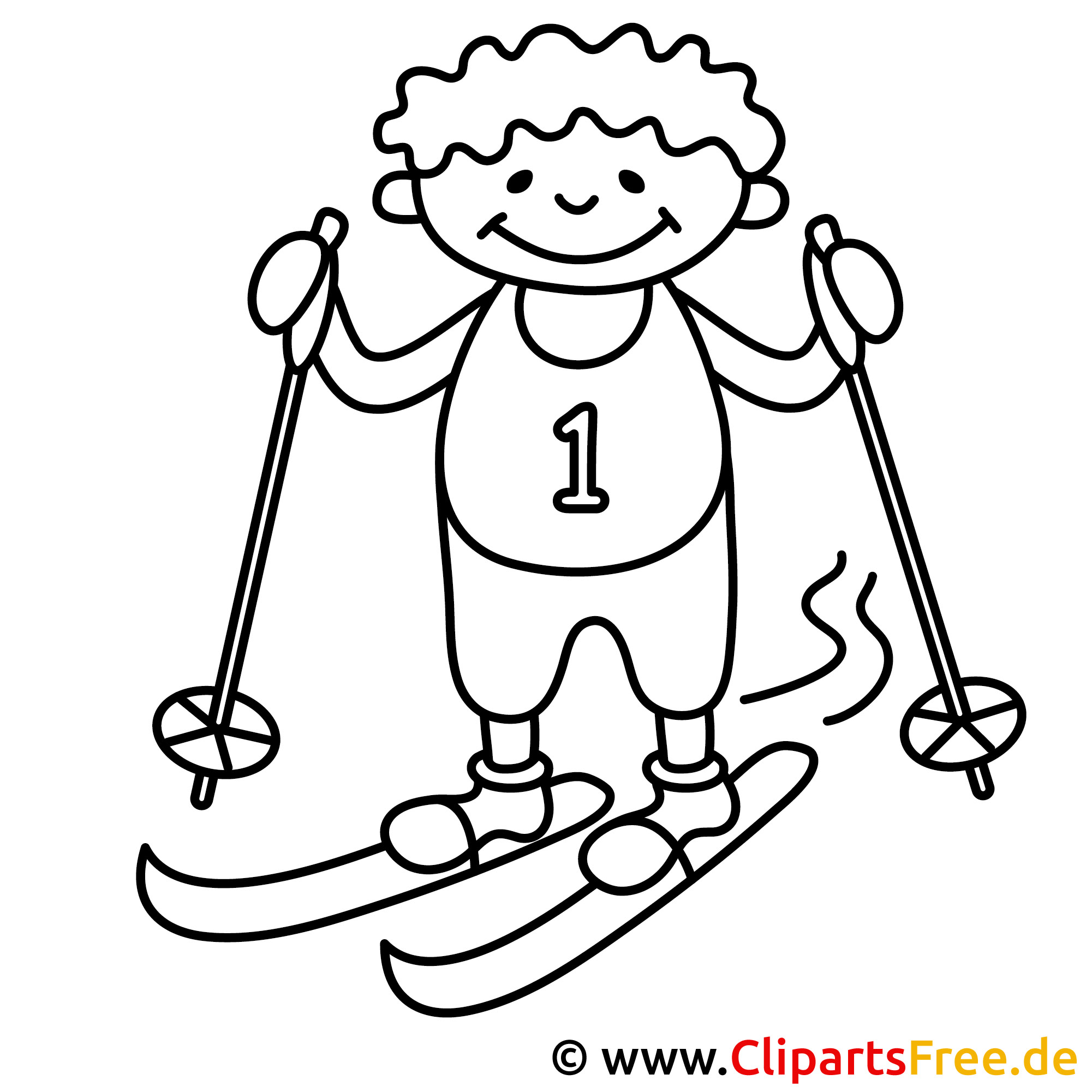 skifahrer malvorlage bild ausmalbild gratis