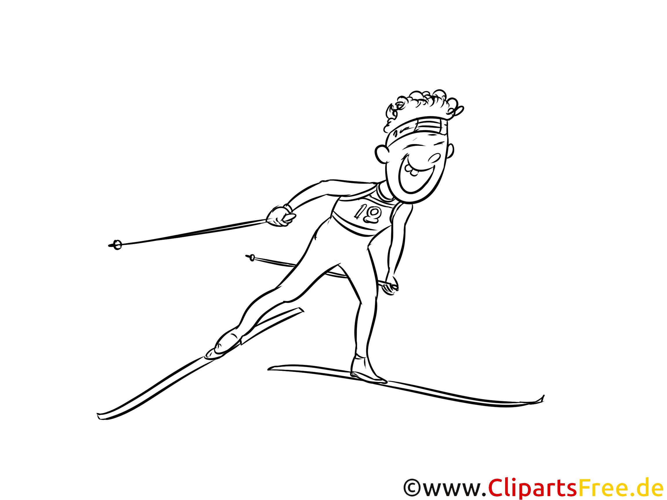 ski langlauf bild schwarzweiß illustration grafik zum