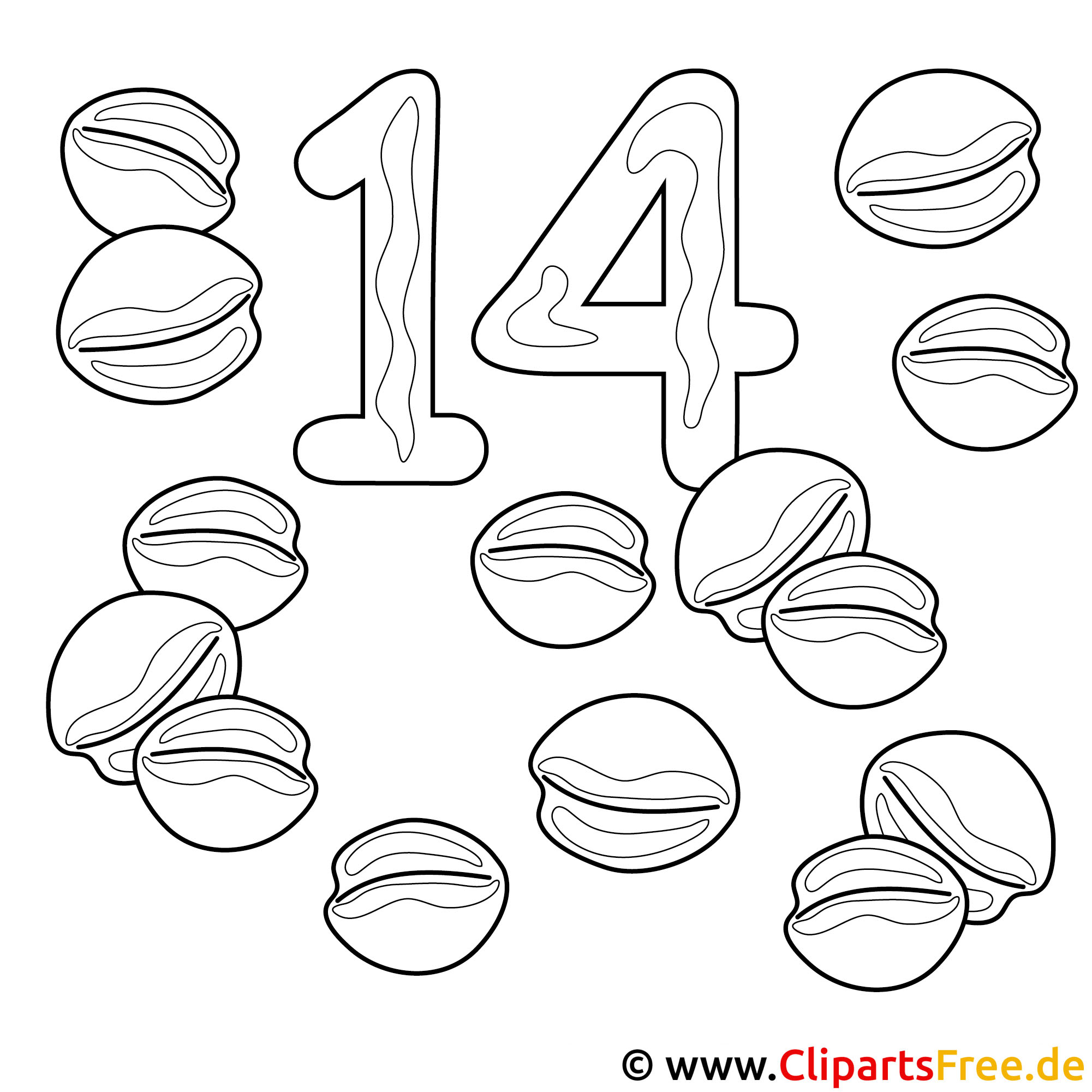 Zahl 14 - Nuesse Malvorlage - Zahlen lernen