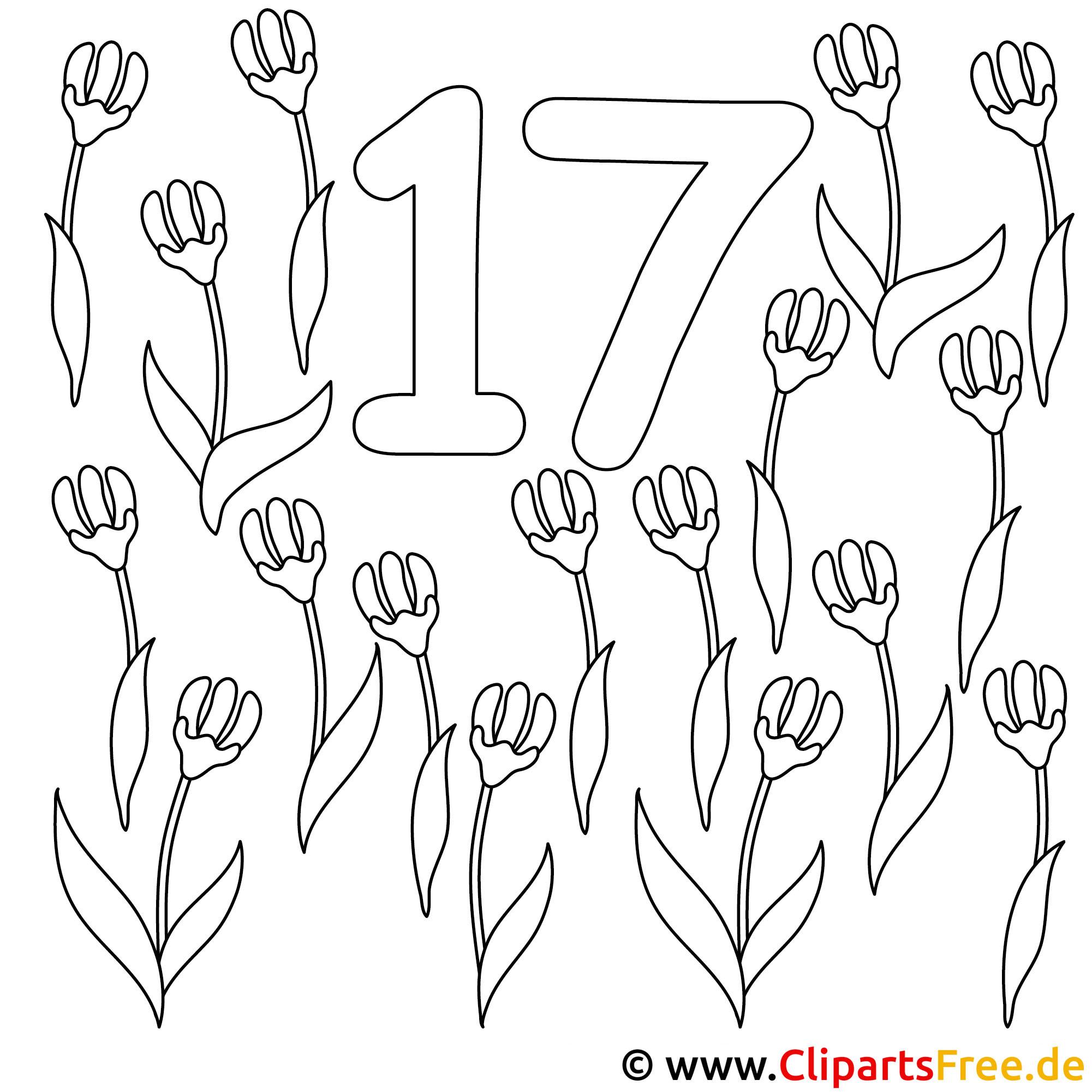Zahl 17 mit Blumen - Zahlen Window Color Vorlagen
