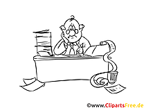 Arbeit im Büro am Schreibtisch Malvorlage