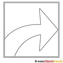 Pfeil rechts Bild zum Ausmalen, Malvorlage, Ausmalbild