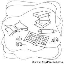 Schreibtisch Bild zum Ausmalen, Malvorlage, Ausmalbild