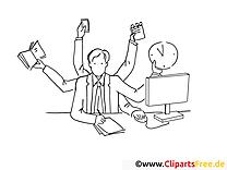 Viele Aufgaben im Büro Clipart-Bild zum Ausmalen