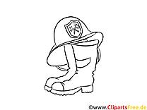 Ausmalbild zum Drucken Feuerwehrhelm und Schuhe