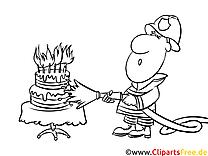 Feuerwehrmann löscht Kerzen auf dem Kuchen Bild zum Ausmalen