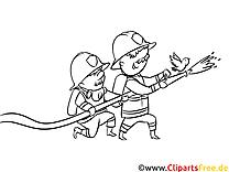 Feuwerwehrmänner löschen Feuer Malvorlage, Ausmalbild