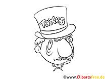 Beamter Finanzamt Bild schwarz-weiß, Illustration, Grafik zum Ausmalen