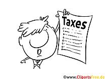 Steuererklärung Bild schwarz-weiß, Illustration, Grafik zum Ausmalen