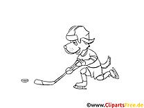 Cartoonhund spielt Eishockey Winter-Sport