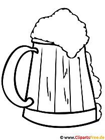 Bierkrug Ausmalbild gratis