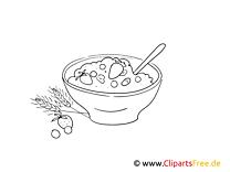 Müsli, Frühstück Malvorlage, BIld kostenlos