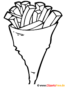 Pommes Frites Bild - Ausmalbild kostenlos