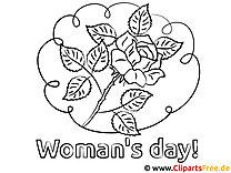 Rose zum Ausmalen - Malvorlage zum Frauentag