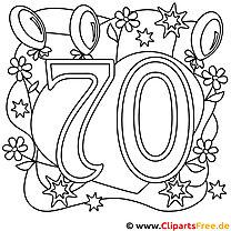 Ausmalbild zum 70. Geburtstag