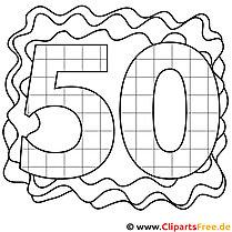 Zahl 50 zum Ausmalen
