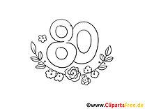 Achtzig Rosen Geburtstag Malvorlage