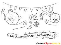 Bär Hase Ausmalbild - Geburtstag Bilder kostenlos