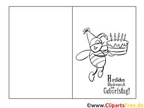 Biene Kuchen Ausmalbild-Glückwunschkarte zum Ausmalen
