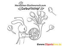 Blumen Hase Malvorlage - Grusskarten zum Geburtstag selbst basteln