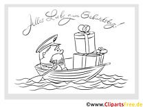 Boot Geschenke Grusskarten zum Kindergeburtstag selbst malen