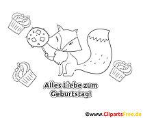 Fuchs Süßigkeit Geburtstag Ausmalbild-Grusskarte