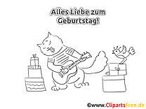 Gitarre Katze Malvorlage zum Geburtstag