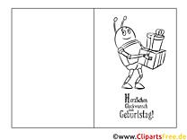 Grille Ausmalbild-Glückwunschkarte zum Ausmalen
