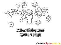 Hirsch Geburtstag Ausmalbild-Grusskarte
