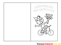 Klappkarte zum Geburtstag Junge Fahrrad