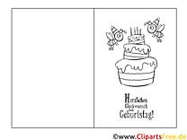 Kuchen Bienen Ausmalbild-Glückwunschkarte zum Ausmalen