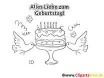 Kuchen Vögel Malvorlage zum Geburtstag