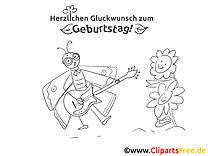 Musiker Malvorlage - Grusskarten zum Geburtstag selbst basteln