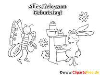 Schmetterling Hase Malvorlage zum Geburtstag