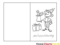Zauberer Vorlage Grusskarte zum Ausmalen und Drucken