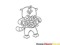Katze hält Geldscheine Malvorlage kostenlos