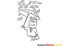 Regen aus Geld Bild, Grafik, Vorlage zum Ausmalen