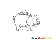 Spar-Schwein Bild-Malvorlage zum Drucken