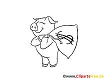 Sparschwein mit Geldsack - Ausmalbild zum Ausmalen