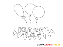 Simple Coloring Template Birthday