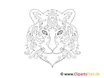 Malvorlage für Erwachsene Tiger
