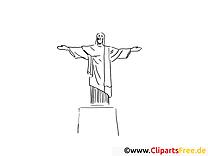 Christusstatue Rio de Janeiro Ausmalbild