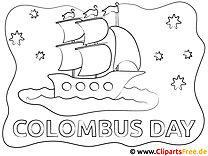 Kolumbus-Tag Reisen Malvorlage gratis