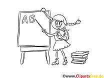 Bild, Malvorlage, Ausmalbild kostenlos Schülerin