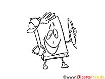Buch-Maskottchen Bild, Malvorlage, Ausmalbild kostenlos