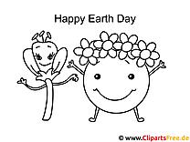 Erde mit der Blume Tag der Erde Ausmalbilder für Kinder kostenlos ausdrucken