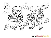 Fröhliche Kinder gehen in die Schule Malvorlage-Ausmalbild