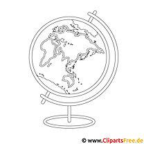 Globus Bild zum Ausmalen